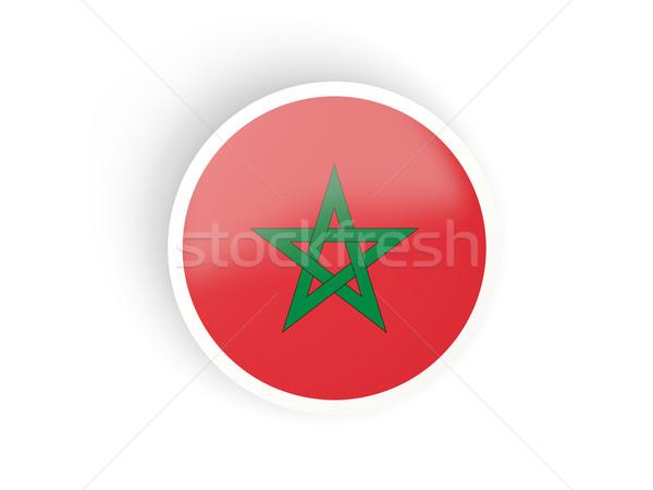 Etiqueta bandera Marruecos aislado blanco viaje Foto stock © MikhailMishchenko