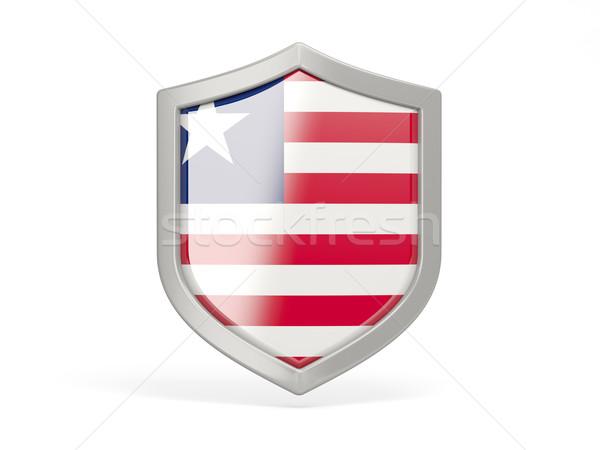 Escudo ícone bandeira Libéria isolado branco Foto stock © MikhailMishchenko