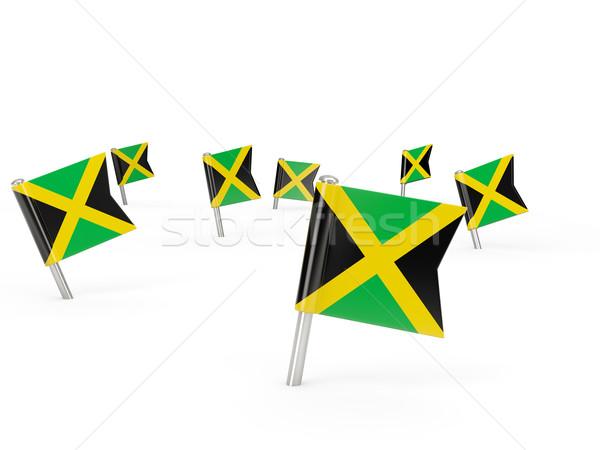 Kare bayrak Jamaika yalıtılmış beyaz ülke Stok fotoğraf © MikhailMishchenko