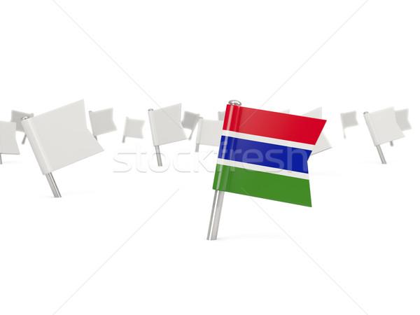 広場 ピン フラグ ガンビア 孤立した 白 ストックフォト © MikhailMishchenko