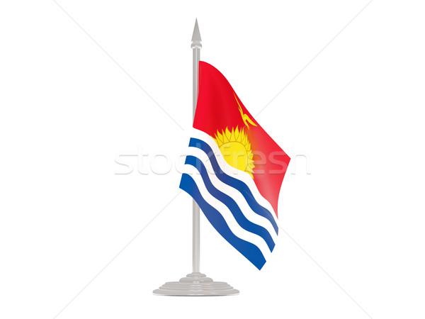Banderą Kiribati maszt 3d odizolowany biały Zdjęcia stock © MikhailMishchenko