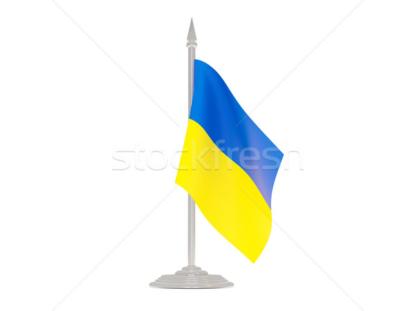 Flag of ukraine with flagpole. 3d render Stock photo © MikhailMishchenko