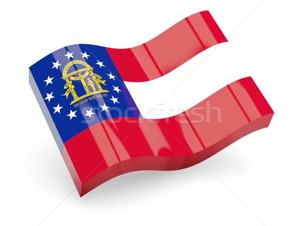 флаг волна икона изолированный белый 3d иллюстрации Сток-фото © MikhailMishchenko
