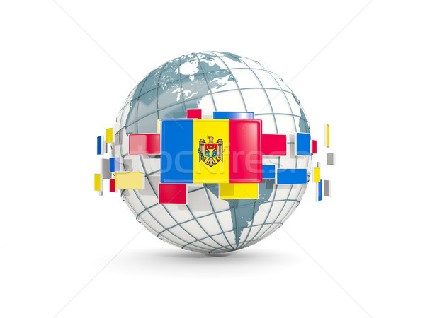 Földgömb zászló izolált fehér 3d illusztráció térkép Stock fotó © MikhailMishchenko