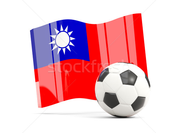 Football with waving flag of taiwan isolated on white Stock photo © MikhailMishchenko