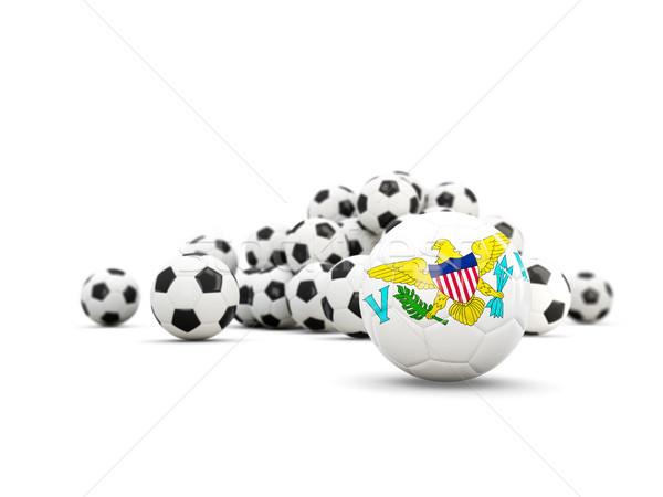Voetbal vlag maagd eilanden geïsoleerd witte Stockfoto © MikhailMishchenko