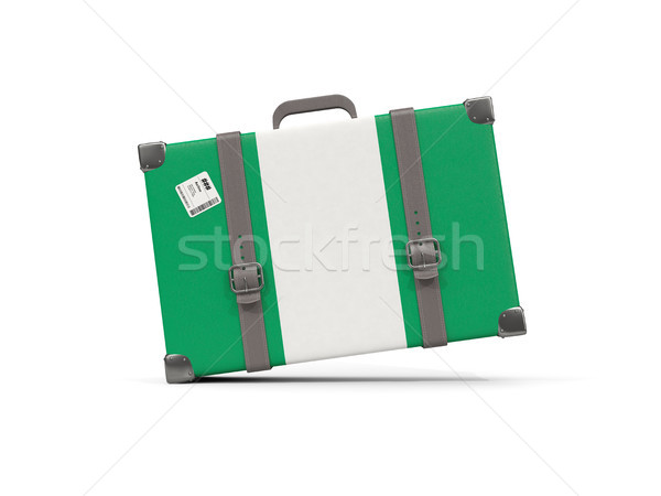 Bagagem bandeira Nigéria mala isolado branco Foto stock © MikhailMishchenko