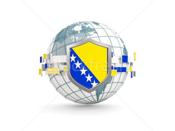 Stockfoto: Wereldbol · schild · vlag · Bosnië-Herzegovina · geïsoleerd · witte