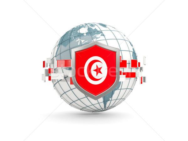 Globe and shield with flag of tunisia isolated on white Stock photo © MikhailMishchenko