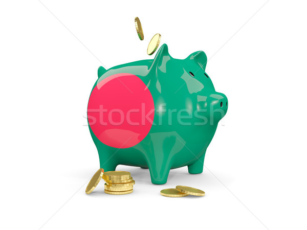 Gordura piggy bank Bangladesh dinheiro isolado branco Foto stock © MikhailMishchenko