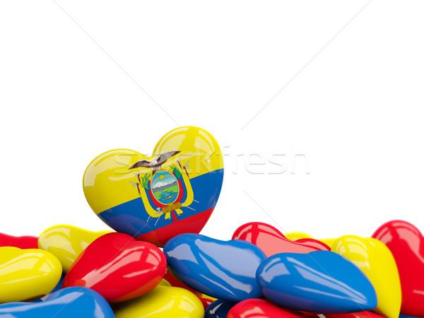 Kalp bayrak Ekvador üst kalpler yalıtılmış Stok fotoğraf © MikhailMishchenko