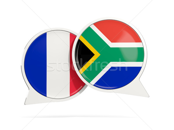 Chat bubbles of France and South Africa isolated on white Stock photo © MikhailMishchenko