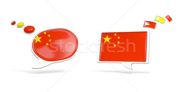 Due chat icone bandiera Cina piazza Foto d'archivio © MikhailMishchenko