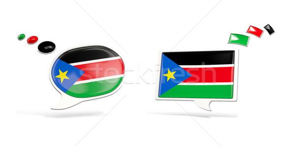 Kettő chat ikonok zászló dél Szudán Stock fotó © MikhailMishchenko