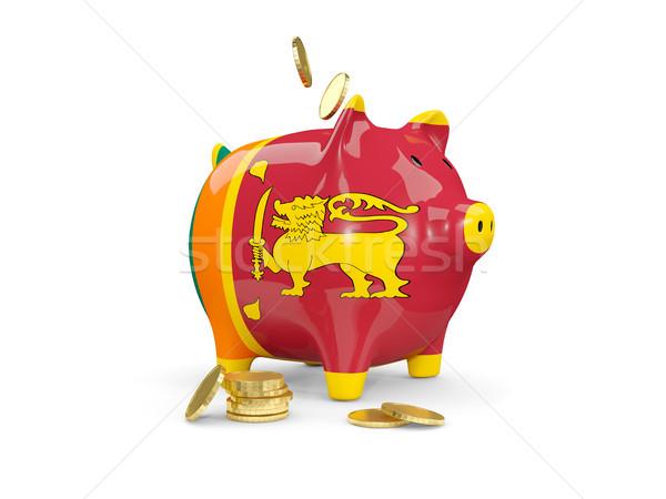 Kövér persely Sri Lanka pénz izolált fehér Stock fotó © MikhailMishchenko