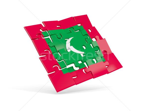 головоломки флаг Мальдивы изолированный белый 3d иллюстрации Сток-фото © MikhailMishchenko