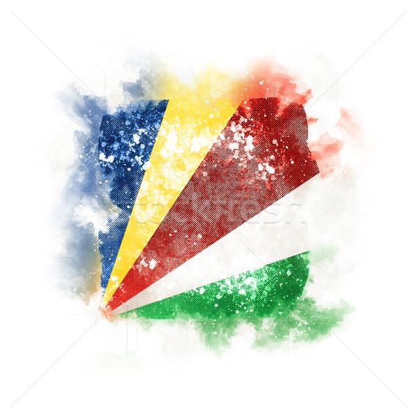 квадратный Гранж флаг Сейшельские острова 3d иллюстрации ретро Сток-фото © MikhailMishchenko