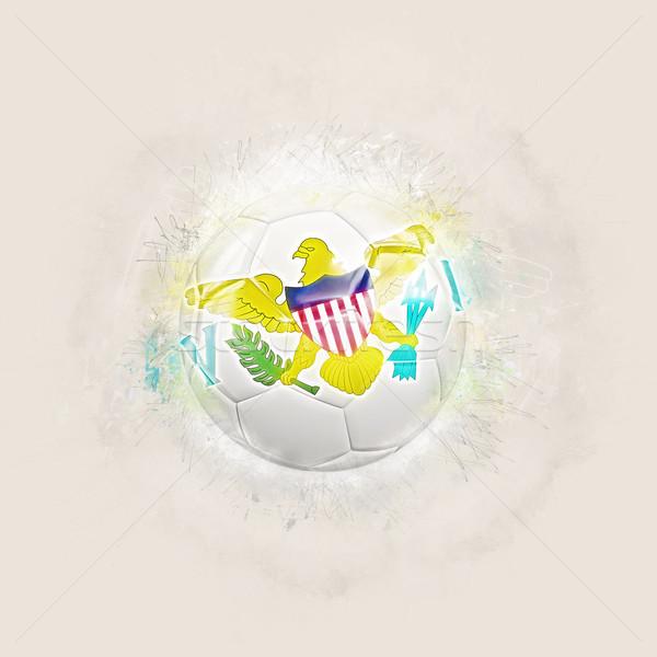 Гранж футбола флаг Виргинские о-ва 3d иллюстрации Мир Сток-фото © MikhailMishchenko