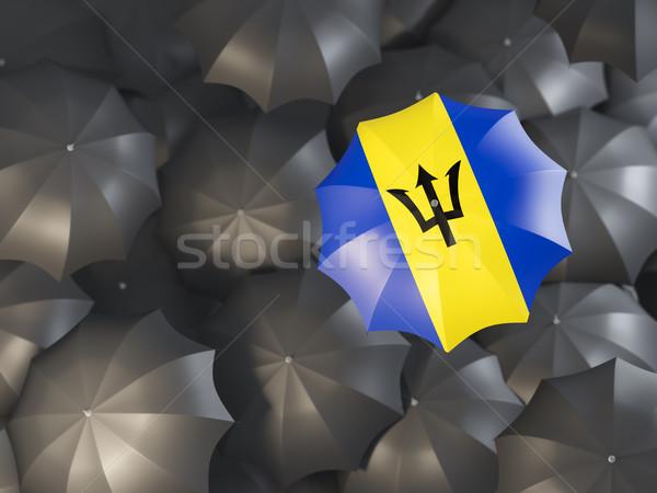 Umbrella with flag of barbados Stock photo © MikhailMishchenko