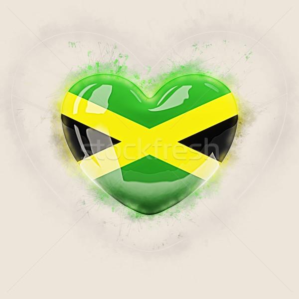 Coração bandeira Jamaica grunge ilustração 3d viajar Foto stock © MikhailMishchenko