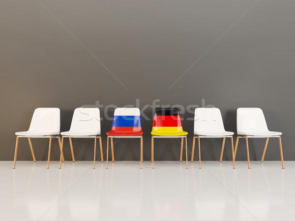 Chaises pavillon Russie Allemagne rangée 3d illustration Photo stock © MikhailMishchenko