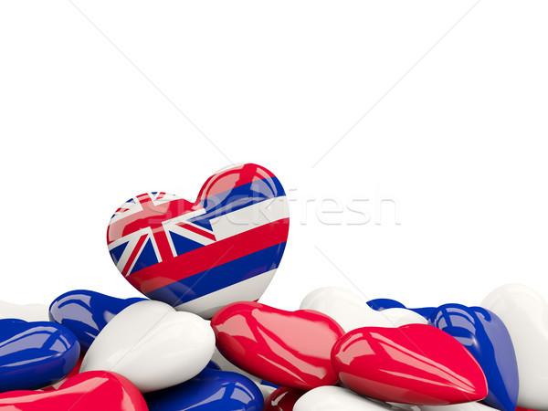 Heart shaped hawaii state flag. United states local flags Stock photo © MikhailMishchenko