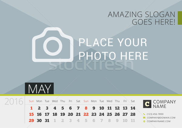 Desk Calendar 2016. Vector Print Template with Place for Photo. May. Week Starts Sunday Stock photo © mikhailmorosin