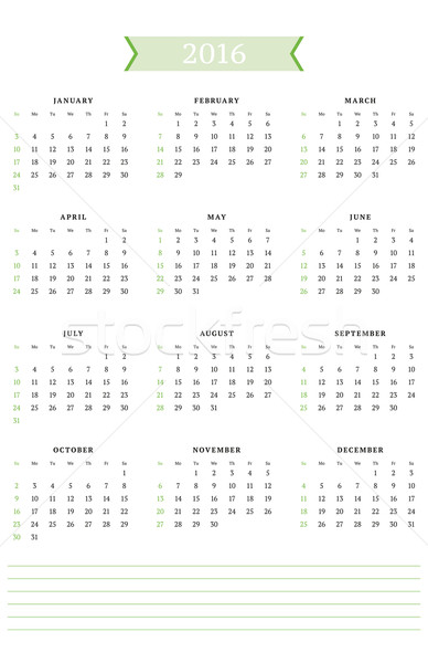 Calendar for 2016 Year. Vector Design Print Template. Week Starts Sunday. Portrait Orientation Stock photo © mikhailmorosin