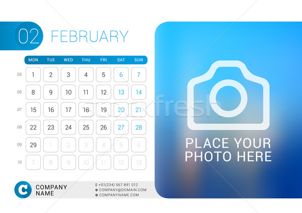 Stock photo: Desk Calendar for 2016 Year. February. Vector Design Print Template with Place for Photo, Logo and C