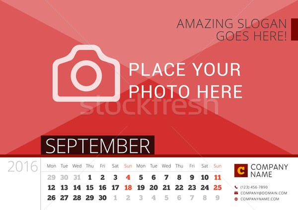 Desk Calendar 2016 Year. Vector Design Print Template with Place for Photo. September. Week Starts M Stock photo © mikhailmorosin