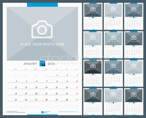 Wall Monthly Calendar for 2016 Year. Vector Design Print Template with Place for Photo. Week Starts  Stock photo © mikhailmorosin