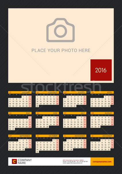 Wall Calendar Poster for 2016 Year. Vector Design Print Template with Place for Photo on Dark Backgr Stock photo © mikhailmorosin