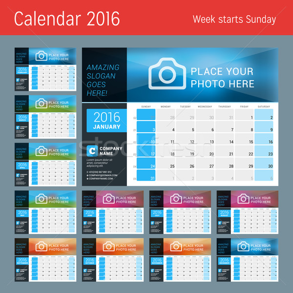 Vector Design Print Calendar Template for 2016 Year. Place for Photo, Logo and Contact Information.  Stock photo © mikhailmorosin