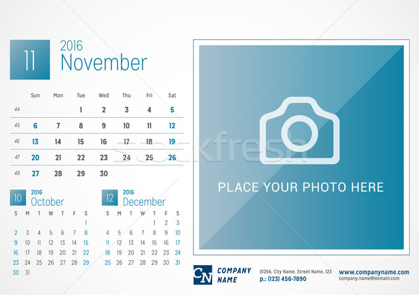Desk Calendar 2016. Vector Print Template. November. Week Starts Sunday Stock photo © mikhailmorosin