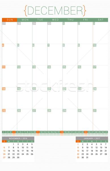 Calendário 2016 modelo de design dezembro semana Foto stock © mikhailmorosin