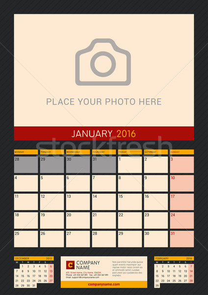 Stock photo: Wall Calendar Planner for 2016 Year. Vector Design Print Template with Place for Photo on Dark Backg