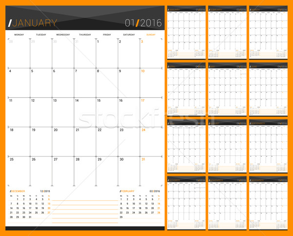 Monthly Calendar Planner for 2016 Year. Set of 12 Months. Week Starts Monday. Vector Design Print Te Stock photo © mikhailmorosin