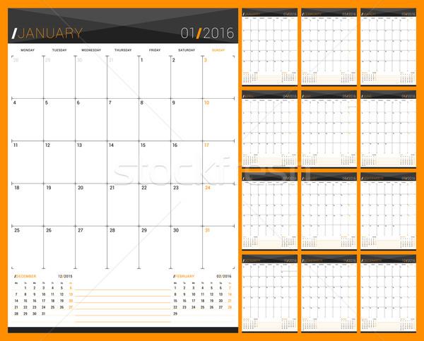毎月 カレンダー プランナー 2016 年 セット ストックフォト © mikhailmorosin