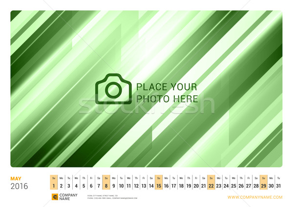Wall Monthly Line Calendar for 2016 Year. Vector Design Print Template. Landscape Orientation. May 2 Stock photo © mikhailmorosin