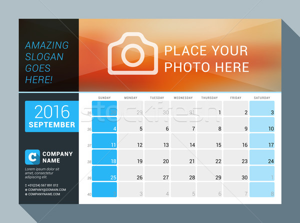 September 2016. Vector Design Print Calendar Template for 2016 Year. Place for Photo, Logo and Conta Stock photo © mikhailmorosin