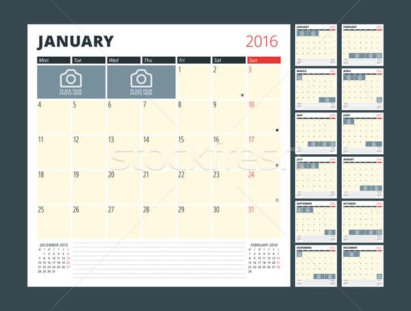 Calendar Planner Template for 2016 Year. Vector Design Print Template. Week Starts Monday. Calendar  Stock photo © mikhailmorosin