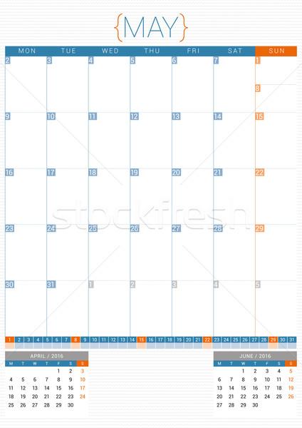 Stock photo: Calendar Planner 2016 Design Template. May. Week Starts Monday