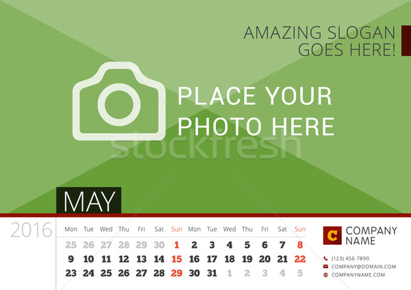 Stock photo: Desk Calendar 2016 Year. Vector Design Print Template with Place for Photo. May. Week Starts Monday