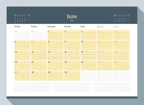 June 2016. Monthly Calendar Planner for 2016 Year. Vector Design Print Template. Week Starts Monday Stock photo © mikhailmorosin