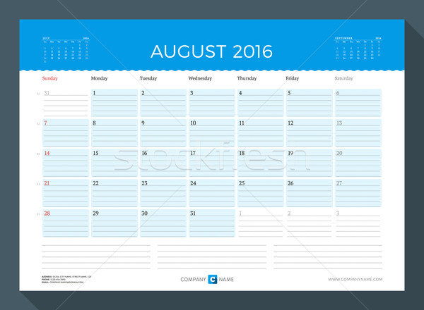 August 2016. Monthly Calendar Planner for 2016 Year. Vector Design Print Template. Week Starts Sunda Stock photo © mikhailmorosin