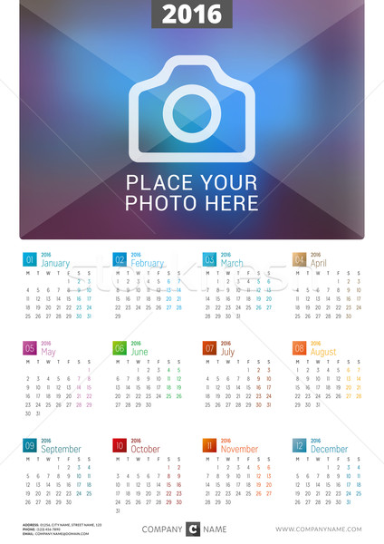 Stock photo: Wall Calendar Poster for 2016 Year. Vector Design Print Template with Place for Photo. Week Starts M