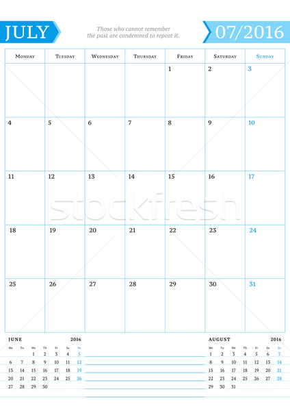 July 2016. Monthly Calendar Planner for 2016 Year. Vector Design Print Template with Place for Notes Stock photo © mikhailmorosin