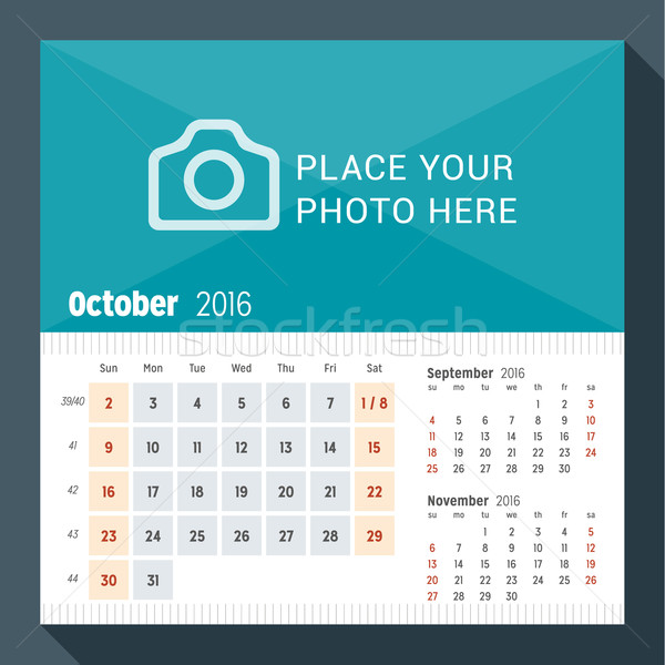 October 2016. Desk Calendar for 2016 Year. Week Starts Sunday. 3 Months on Page. Vector Design Print Stock photo © mikhailmorosin