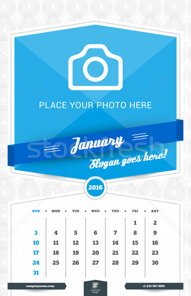 Stock photo: January 2016. Wall Monthly Calendar for 2016 Year. Vector Design Print Template with Place for Photo