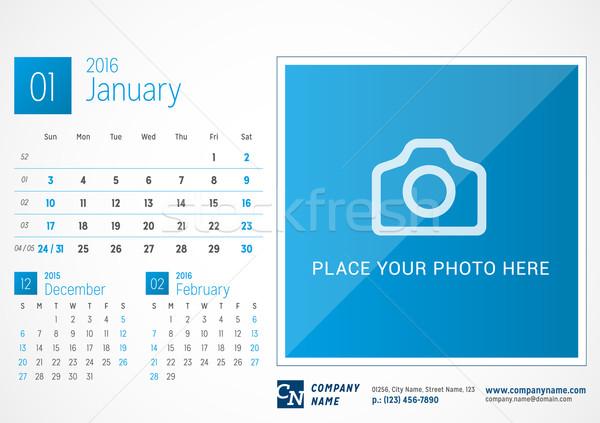 Escritorio calendario 2016 vector impresión plantilla Foto stock © mikhailmorosin